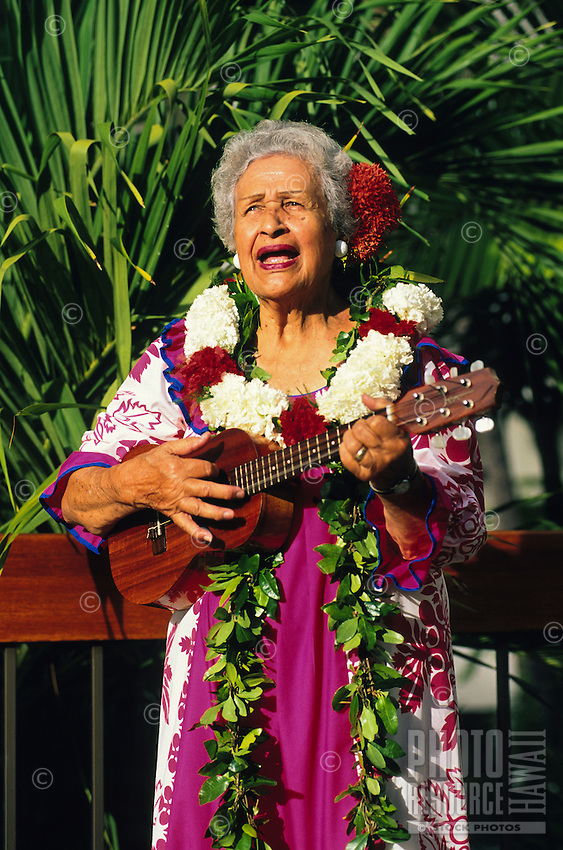 Aunty Genoa Keawe, a native Hawaiian singer and ukulele player and a living treasure at 86 years of age.  With her falsetto voice she is one of the most celebrated and influential recording artists in Hawaii.