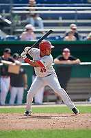 Auburn Doubledays designated hitter Wilmer Perez (45) at bat during a game against the Batavia Muckdogs on September 1, 2018 at Dwyer Stadium in Batavia, New York.  Auburn defeated Batavia 10-5.  (Mike Janes/Four Seam Images)