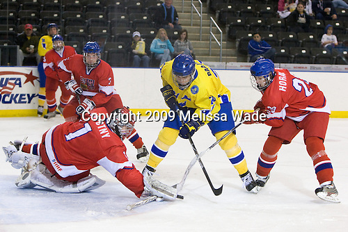 Adam Polasek (Czech Republic - 3), Filip Novotny (Czech Republic - 1), Magnus Svensson Pääjärvi (Sweden - 20), Roman Horak (Czech Republic - 23) - Sweden defeated the Czech Republic 4-2 at the Urban Plains Center in Fargo, North Dakota, on Saturday, April 18, 2009, in their final match of the 2009 World Under 18 Championship.