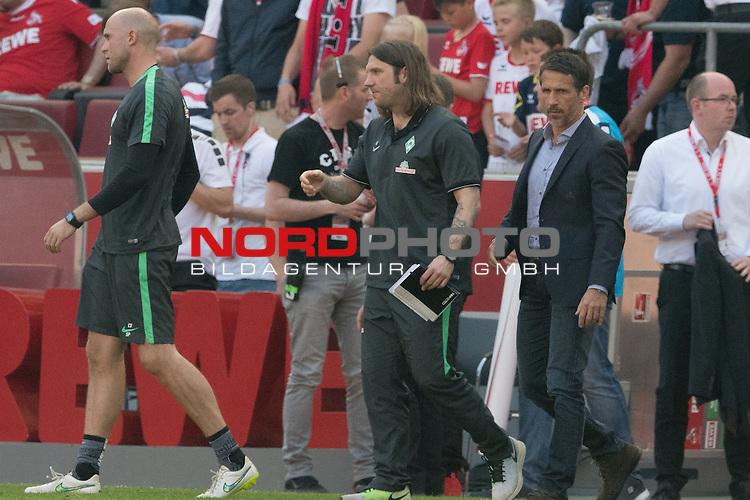 07.05.2016, RheinEnergie Stadion, Koeln, GER, 1.FBL, 1.FC Koeln vs Werder Bremen, im Bild<br /> <br /> entt&auml;uscht / enttaeuscht / traurig <br /> Christian Vander (Torwart-Trainer Werder Bremen)<br /> Torsten Frings (Co-Trainer Werder Bremen)<br /> Thomas Eichin (Geschaeftsfuehrer Sport Werder Bremen)<br /> <br /> Foto &copy; nordphoto / Kokenge