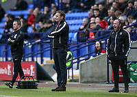 Bolton Wanderers' manager Phil Parkinson with  assistant manager Steve Parkin  <br /> <br /> Photographer Andrew Kearns/CameraSport<br /> <br /> The EFL Sky Bet Championship - Bolton Wanderers v Norwich City - Saturday 16th February 2019 - University of Bolton Stadium - Bolton<br /> <br /> World Copyright © 2019 CameraSport. All rights reserved. 43 Linden Ave. Countesthorpe. Leicester. England. LE8 5PG - Tel: +44 (0) 116 277 4147 - admin@camerasport.com - www.camerasport.com