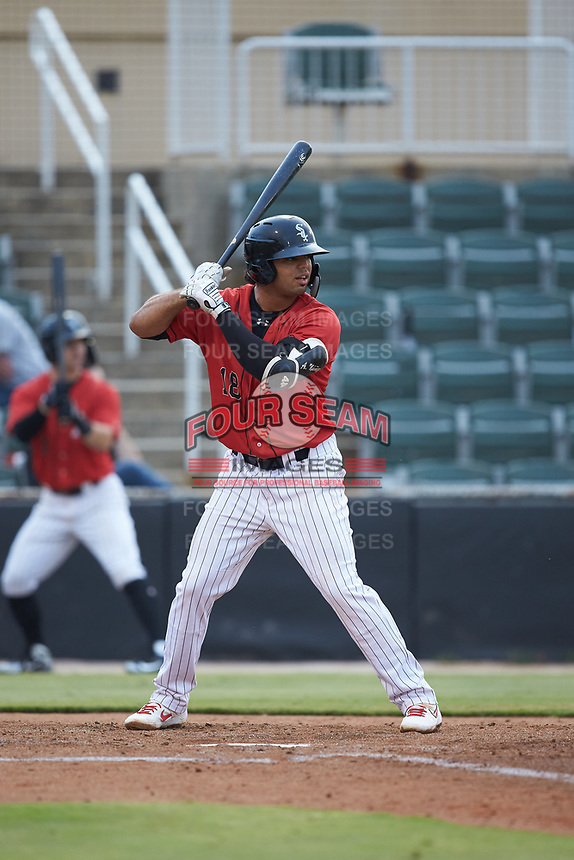 Amado Nunez (18) of the Kannapolis Intimidators at bat against the Hagerstown Suns at Kannapolis Intimidators Stadium on August 27, 2019 in Kannapolis, North Carolina. The Intimidators defeated the Suns 5-4. (Brian Westerholt/Four Seam Images)
