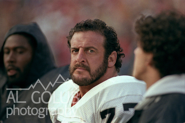 San Francisco 49ers vs. Los Angles Raiders at Candlestick Park Saturday, August 4, 1984..Pre-season Game. .Los Angles Raiders Defensive End Lyle Alzado (77) on sidelines..