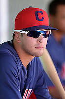 Cleveland Indians third baseman James Roberts (26) in the dugout during an instructional league game against the Cincinnati Reds on September 28, 2013 at Goodyear Training Complex in Goodyear, Arizona.  (Mike Janes/Four Seam Images)