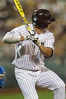 Mississippi State outfielder Hunter Renfro (34) at bat during Game 1 of the 2013 Men's College World Series Finals against the UCLA Bruins on June 24, 2013 at TD Ameritrade Park in Omaha, Nebraska. The Bruins defeated the Bulldogs 3-1, taking a 1-0 lead in the best of 3 series. (Andrew Woolley/Four Seam Images)