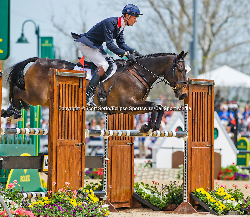 April 27, 2014: BAY MY HERO, ridden by William Fox-Pitt (GBR), comeptes during the stadium jumping final while winning the Rolex Kentucky 3-Day Event at the Kentucky Horse Park in Lexington, KY. Scott Serio/ESW/CSM