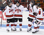 Brittany Esposito (Northeastern - 7), Kendall Coyne (Northeastern - 77), Stephanie Gavronsky (Northeastern - 44), Maggie Brennolt (Northeastern - 22) - The Northeastern University Huskies defeated the visiting Clarkson University Golden Knights 5-2 on Thursday, January 5, 2012, at Matthews Arena in Boston, Massachusetts.