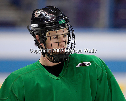 Jonathan Toews (University of North Dakota - Winnipeg, MB) takes part in the Fighting Sioux Wednesday practice on April 4, 2007 at the Scottrade Center in St. Louis, Missouri, prior to their Thursday 2007 Frozen Four Semi-Final.