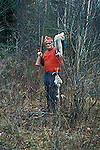 Successful hunter with snowshoe hare Lepus americanus