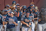 30 MAY 2016: University of Texas-Tyler teammates congratulate Vanessa Carrizales(15) after slugging a home run during the Division III Women's Softball Championship is held at the James I Moyer Sports Complex in Salem, VA. University of Texas-Tyler defeated Messiah College 7-0 for the national title. Don Petersen/NCAA Photos