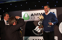 Pictured: Gylfi Sigurdsson with his awards Wednesday 18 May 2017<br /> Re: Swansea City FC, Player of the Year Awards at the Liberty Stadium, Wales, UK.