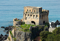 Italy, Calabria, Praia a Mare: popular resort at Riviera dei Cedri, old fortress, tower, ruin