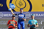 Race leader Elia Viviani (ITA) Quick-Step Floors wins overall with Magnus Cort Nielsen (DEN) Astana Pro Team in 2nd place and Sonny Colbrelli (ITA) Bahrain-Merida 3rd at the end of Stage 5 The Meraas Stage final stage of the Dubai Tour 2018 the Dubai Tour&rsquo;s 5th edition, running 132km from Skydive Dubai to City Walk, Dubai, United Arab Emirates. 10th February 2018.<br /> Picture: LaPresse/Fabio Ferrari | Cyclefile<br /> <br /> <br /> All photos usage must carry mandatory copyright credit (&copy; Cyclefile | LaPresse/Fabio Ferrari)