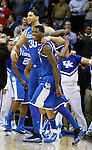 Teammates Eloy Vargas and DeAndre Liggins celebrate after defeating number one seed Ohio State in the Sweet 16 of the 2011 NCAA Basketball Tournament, at the Prudential Center, in Newark, NJ, on Saturday, March 25, 2011.  Photo by Latara Appleby | Staff