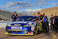Nov. 13, 2009; Avondale, AZ, USA; The car of NASCAR Sprint Cup Series driver Jimmie Johnson during qualifying for the Checker O'Reilly Auto Parts 500 at Phoenix International Raceway. Mandatory Credit: Mark J. Rebilas-