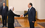 Egyptian President Abdel Fattah al-Sisi listens to the swearing in of Counselor Amani Rafie as head of the Administrative Prosecution Authority at the Ittihadiya presidential palace, in Cairo, Egypt, 28 June 2018. Photo by Egyptian President Office