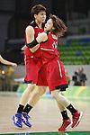 (L-R) Ramu Tokashiki, Asami Yoshida (JPN), AUGUST 6, 2016 - Basketball : <br /> Women's Preliminary Round <br /> between  Japan 77-73 Belorussiya  <br /> at Youth Arena <br /> during the Rio 2016 Olympic Games in Rio de Janeiro, Brazil. <br /> (Photo by Yusuke Nakanishi/AFLO SPORT)