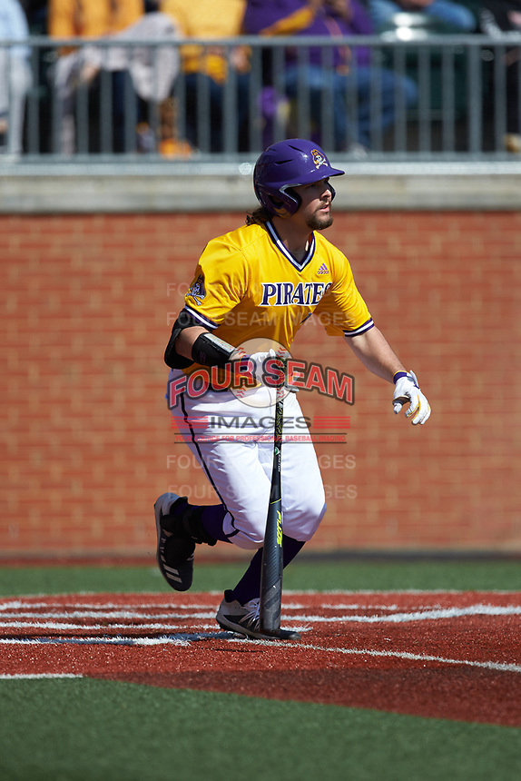 Alec Burleson (19) of the East Carolina Pirates starts down the first base line against the Charlotte 49ers at Hayes Stadium on March 8, 2020 in Charlotte, North Carolina. The Pirates defeated the 49ers 4-1. (Brian Westerholt/Four Seam Images)