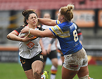 Picture by Anna Gowthorpe/SWpix.com - 15/04/2018 - Rugby League - Womens Super League - Bradford Bulls v Leeds Rhinos - Coral Windows Stadium, Bradford, England - Bradford Bulls' Savannah Andrade is tackled by Leeds Rhinos' Danika Primm