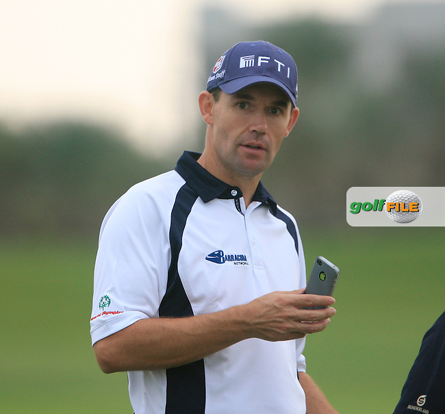 Padraig Harrington forced to take to the Practice Range for the rest of the tournament during Day 2 Friday of the Abu Dhabi HSBC Golf Championship, 21st January 2011..(Picture Eoin Clarke/www.golffile.ie)