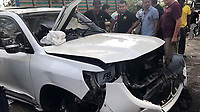 SUCRE - COLOMBIA - 14-04-2017: Aspecto del vehículo del músico colombiano Martin Elias que falleció en la mañana de hoy, 14 de abril de 2017, luego de un accidente automovilístico cuando pasaba por el corregimiento Aguas Negras, en jurisdicción del municipio de San Onofre, en el norte del departamento de Sucre, Colombia. Martin Elias es uno de los hijos del fallecido Cacique de la Junta, Diomedes Diaz, famoso cantante vallenato. / Aspect of the vehicle of the Colombian musician Martin Elias who died in the morning today, April 14, 2017, after a car accident as he passed through the town of Aguas Negras, in the jurisdiction of the municipality of San Onofre, in the north of the department of Sucre, Colombia. Martin Elias is one of the children of the deceased Chief of the Board, Diomedes Díaz, famous vallenato singer.  Photo: VizzorImage/ Jairo Cassiani /CONT