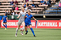 Seattle, WA - Sunday, August 13, 2017: Lindsay Elston and Samantha Mewisduring a regular season National Women's Soccer League (NWSL) match between the Seattle Reign FC and the North Carolina Courage at Memorial Stadium.