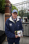 Jack Wolfenden, aged 83, selling programmes outside the Harry Williams Riverside Stadium, home to Ramsbottom United before they played Barwell in a Northern Premier League premier division match. This was the club's 13th league game of the season and they were still to record their first victory following a 3-1 defeat, watched by a crowd of 176. Rams bottom United were formed by Harry Williams, the current chairman, in 1966 and progressed from local amateur football  in Bury to the semi-professional leagues.