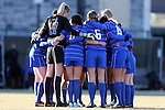 29 November 2013: Duke's starters huddle before the game. The Virginia Tech University Hokies played the Duke University Blue Devils at Thompson Field in Blacksburg, Virginia in a 2013 NCAA Division I Women's Soccer Tournament Quarterfinal match. Virginia Tech won the game 3-0.