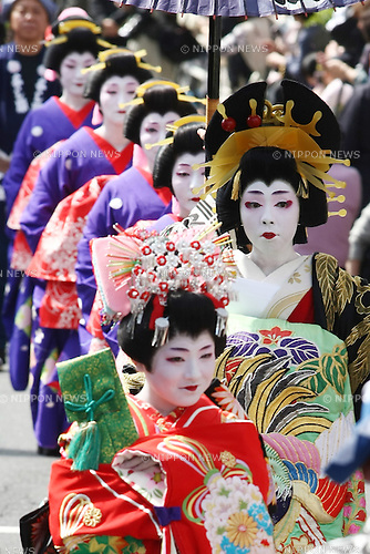Apr. 10, 2010 - Tokyo, Japan - Women perform as an 'oiran,' a group of high-class courtesans from the Edo period (1600-1868 during the 'Edo Yoshiwara Oiran Dochu' traditional parade as a part of the spring festival near the former brothel area of Yoshiwara in Tokyo on April 10, 2010. To entertain their clients, oiran practiced the arts of dance, music, poetry, and calligraphy, and an educated wit was considered essential for sophisticated conversation.