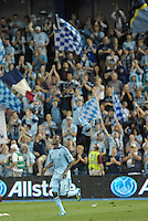 Sporting KC forward C J Sapong celebrates his go ahead goal late in the game..Sporting Kansas City defeated Philadelphia Union 2-1 at LIVESTRONG Sporting Park, Kansas City, KS.