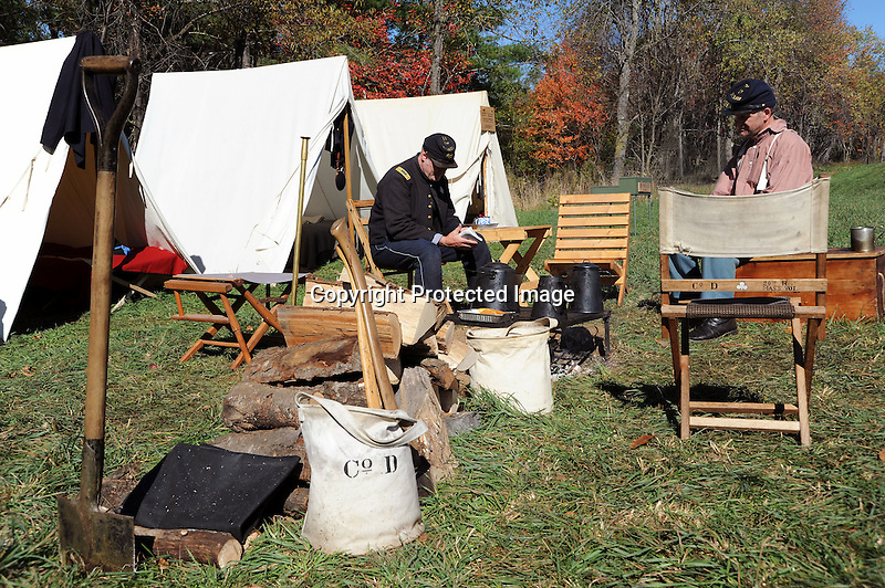 Civil War Reenactment Union Camp Soldiers by Campfire