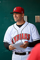 Indianapolis Indians manager Brian Esposito (5) in the dugout before a game against the Rochester Red Wings on July 24, 2018 at Victory Field in Indianapolis, Indiana.  Rochester defeated Indianapolis 2-0.  (Mike Janes/Four Seam Images)