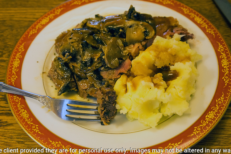 Prime Rib with mashed Golden Potatoes and saute mushrooms. ©2017. Jim Bryant Photo. ALL RIGHTS RESERVED.