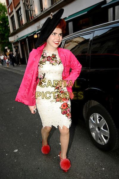 PALOMA FAITH.Outside The Ivy Club, London, England, UK, April 20th 2011..full length black hat pink jacket white lace cream dress floral hand on hip red pom pom shoes pompom ankle strap .CAP/DYL.©Dylan/Capital Pictures.