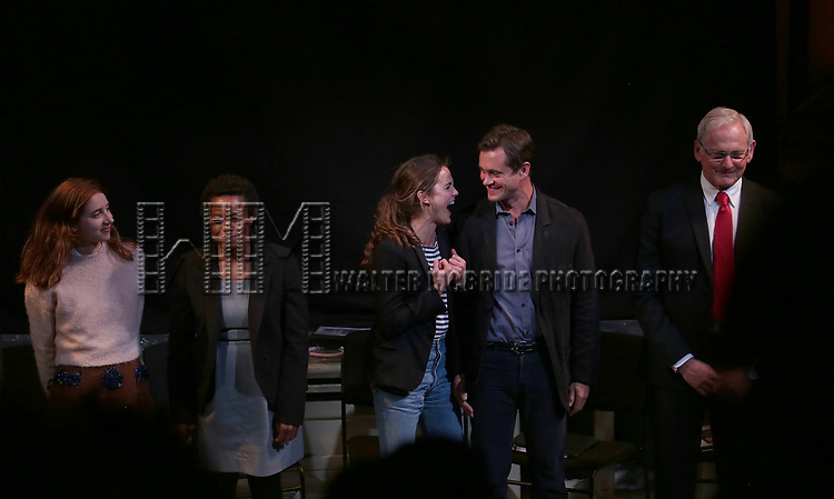 Zoe Kazan, Quincy Tyler Bernstine, Keri Russell, Hugh Dancy and Victor Garber taking bows at the Indigo Theatre Project's Benefit Reading of  'An America Daughter'  at The Tony Kiser Theater on May 8, 2017 in New York City.