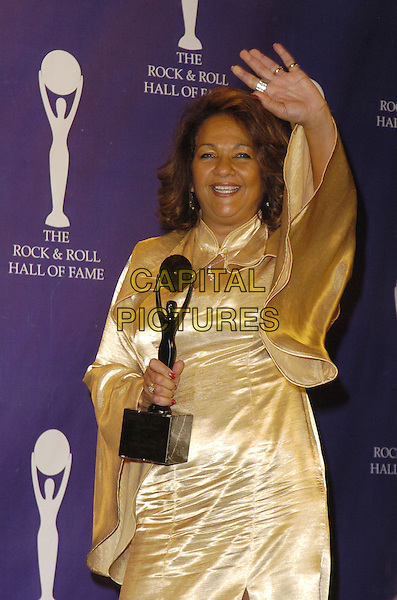 NEDRA TALLEY .The 22nd annual Rock And Roll Hall Of Fame  induction ceremony at the Waldorf Astoria Hotel, New York, New York, USA..March 12th, 2007.half length gold satin top award trophy .CAP/ADM/BL.©Bill Lyons/AdMedia/Capital Pictures *** Local Caption ***