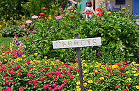Colorful sign in community garden surrounded by zinnias, Yarmouth ME