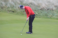 Adam Smith (Mullingar) on the 12th green during Round 2 of the Ulster Boys Championship at Portrush Golf Club, Portrush, Co. Antrim on the Valley course on Wednesday 31st Oct 2018.<br /> Picture:  Thos Caffrey / www.golffile.ie<br /> <br /> All photo usage must carry mandatory copyright credit (&copy; Golffile | Thos Caffrey)