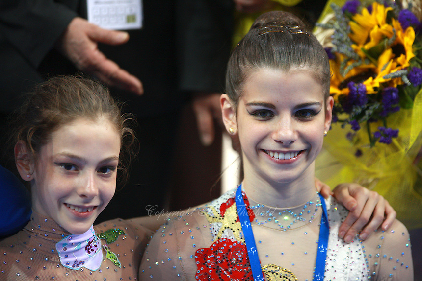 (L-R) Alessia Marchetto and Federica Febbo of Italy (juniors) pose for medals photos after 2008 European Championships at Torino, Italy on June 7, 2008.  Photo by Tom Theobald.