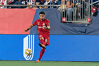 FOXBOROUGH, MA - AUGUST 31: Marco Delgado #8 of Toronto FC passes the ball during a game between Toronto FC and New England Revolution at Gillette Stadium on August 31, 2019 in Foxborough, Massachusetts.