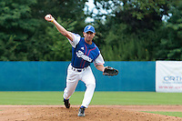 24 july 2010: Robin Allemand of France pitches against Netherlands during Netherlands 10-0 victory over France, in day 2 of the 2010 European Championship Seniors, in Neuenburg, Germany.