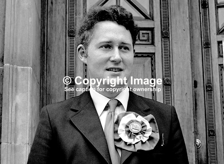 Clifford Smyth, Democratic Unionist, candidate, North Antrim, N Ireland Assembly Election, 1973. 197306000405a<br />