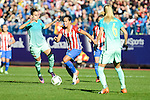 Atletico de Madrid Andrea Sanchez Falcon and FC Barcelona Melanie Serrano and Line Roddick during match of La Liga Femenina between Atletico de Madrid and FC Barcelona at Vicente Calderon Stadium in Madrid, Spain. December 11, 2016. (ALTERPHOTOS/BorjaB.Hojas)