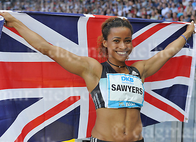 September 03, 2011 Olympic Stadium ,Berlin,Germany<br /> ISTAF (Internationales Stadionfest) IAAF World Challenge <br /> Long Jump Women winner from Great Britain,Jazmin SAWYERS celebrates with flag