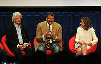 BEVERLY HILLS, CA - AUGUST 3: (L-R) Mitchell Cannold, Neil DeGrasse Tyson, and Ann Druyan during the Q&A panel at the Fox And National Geographic Channel Presents A Screening Of 'Cosmos: A Spacetime Odyssey' at The Paley Center for Media on August 3, 2014 in Beverly Hills, California. PGFM/Starlitepics