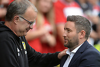 Leeds United manager Marcelo Bielsa shakes hands with Bristol City manager Lee Johnson <br /> <br /> Photographer Ian Cook/CameraSport<br /> <br /> The EFL Sky Bet Championship - Bristol City v Leeds United - Sunday 4th August 2019 - Ashton Gate Stadium - Bristol<br /> <br /> World Copyright © 2019 CameraSport. All rights reserved. 43 Linden Ave. Countesthorpe. Leicester. England. LE8 5PG - Tel: +44 (0) 116 277 4147 - admin@camerasport.com - www.camerasport.com