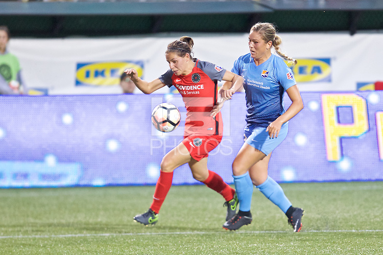 Portland, OR - Saturday June 17, 2017: Ashleigh Sykes, Madison Tiernan during a regular season National Women's Soccer League (NWSL) match between the Portland Thorns FC and Sky Blue FC at Providence Park.