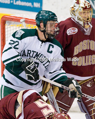 Rob Pritchard (Dartmouth - 22), John Muse (BC - 1) - The Boston College Eagles defeated the Dartmouth Big Green 2-1 (OT) on Sunday, November 30, 2008 at Thompson Arena in Hanover, New Hampshire.