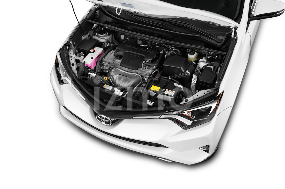 Car Stock 2016 Toyota RAV4 Limited 5 Door SUV Engine  high angle detail view