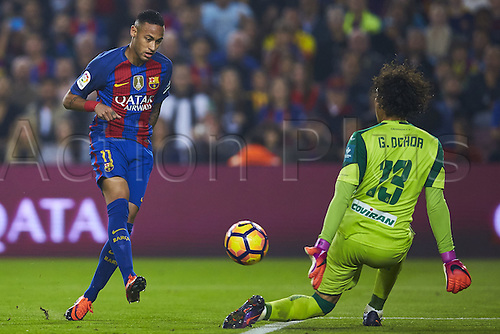 29.10.2016 Barcelona. La Liga football league.  Neymar da Silva Jr (FC Barcelona) duels for the ball against Ochoa (Granada CF), during La Liga soccer match between FC Barcelona and Granada CF, at the Camp Nou stadium in Barcelona